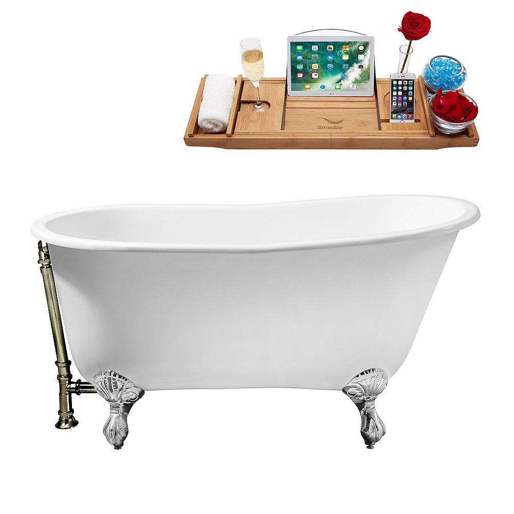 Streamline 53 inch Cast Iron R5460CH-BNK Soaking Clawfoot Tub and Tray with External Drain