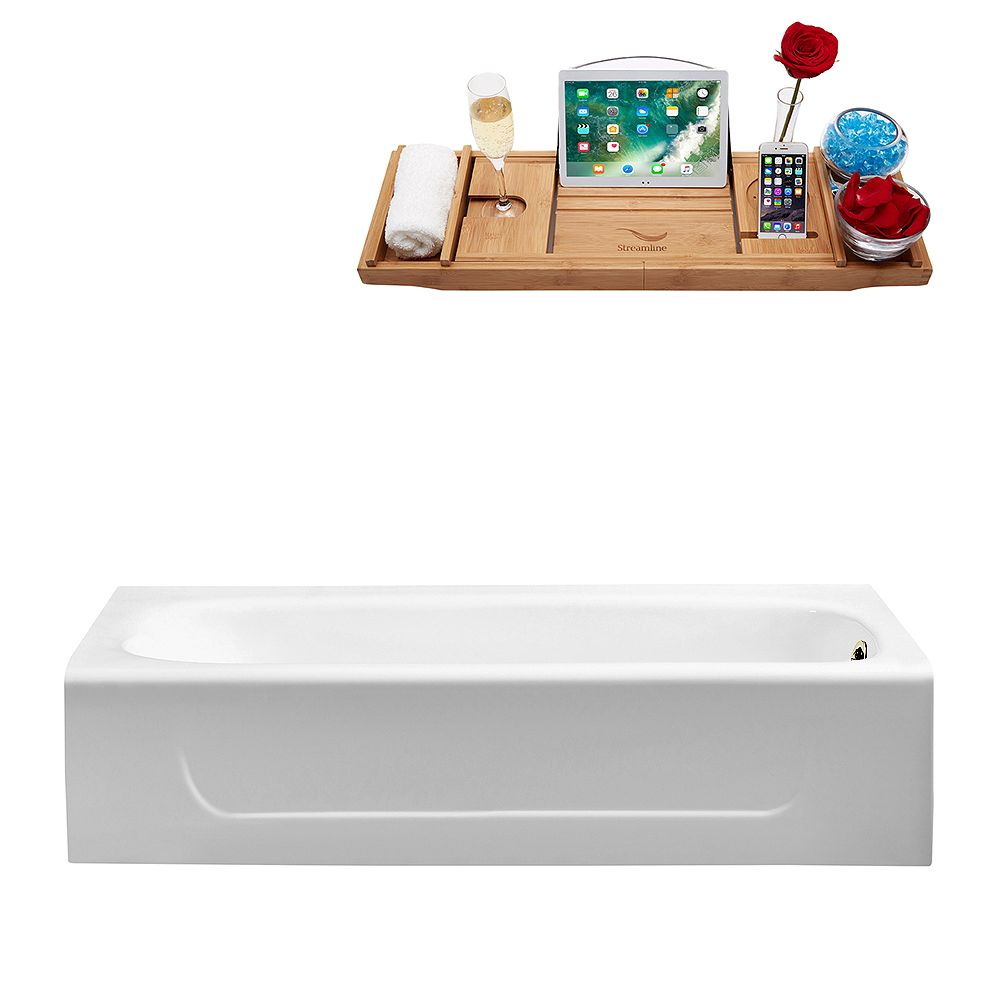 Streamline 60 inch Cast Iron R5480BNK Soaking Alcove Tub and Tray with Drain
