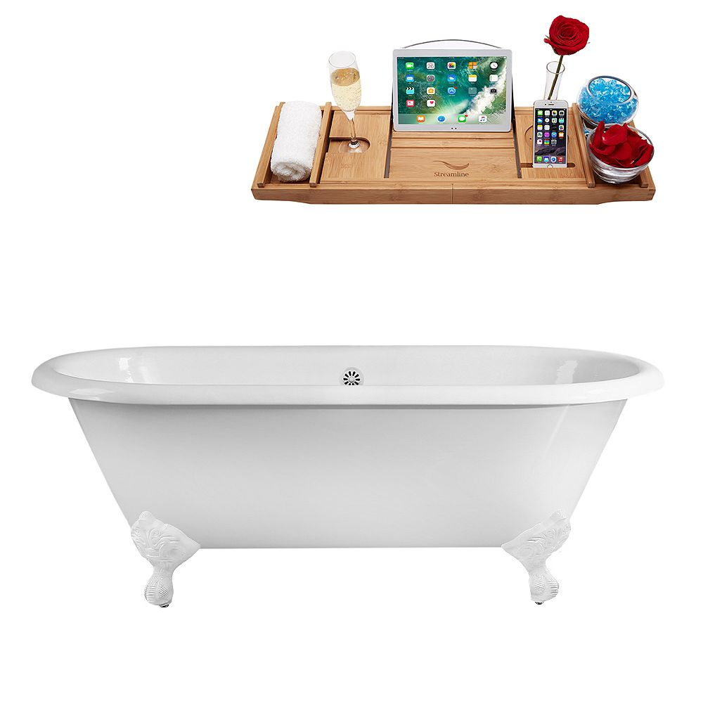 Streamline 60 inch Streamline Cast Iron R5500WH-WH Soaking Clawfoot Tub and Tray with External Drain