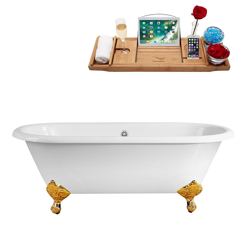 Streamline 66 inch Streamline Cast Iron R5501GLD-WH Soaking Clawfoot Tub and Tray with External Drain