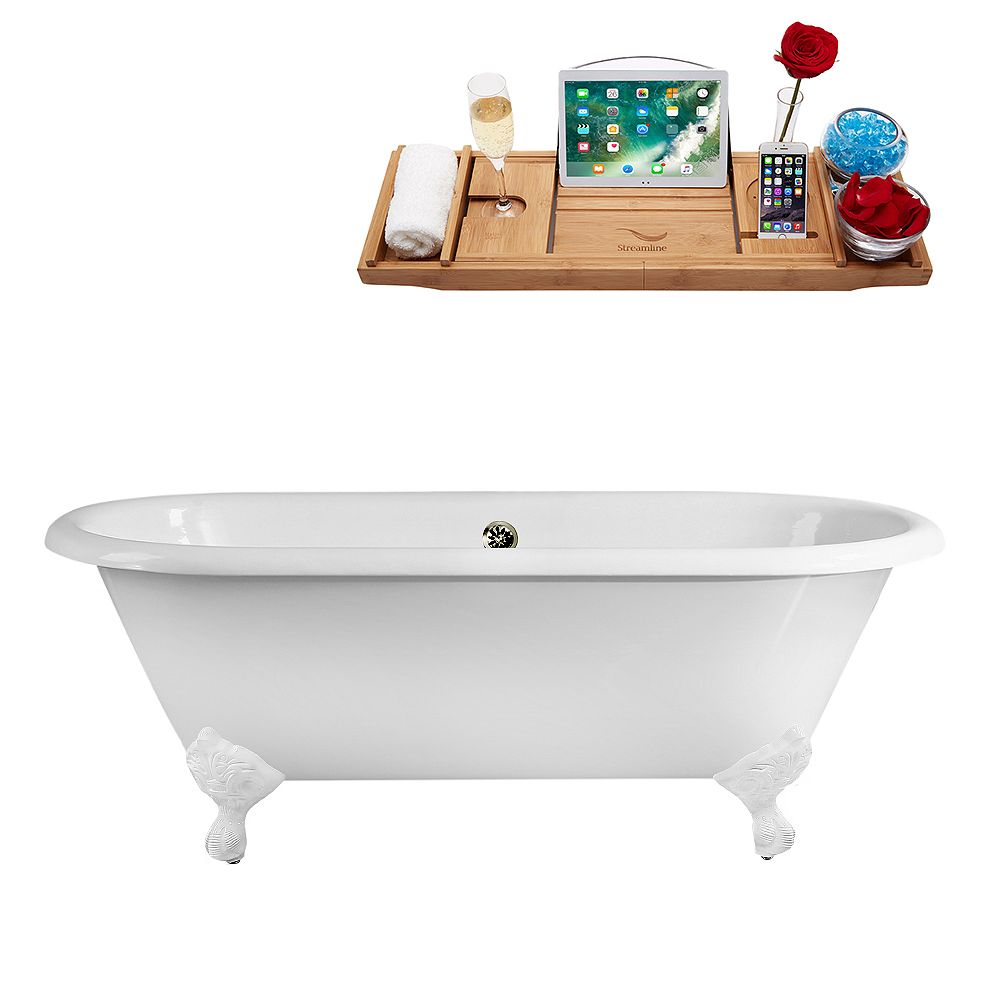 Streamline 66 inch Streamline Cast Iron R5501WH-BNK Soaking Clawfoot Tub and Tray with External Drain