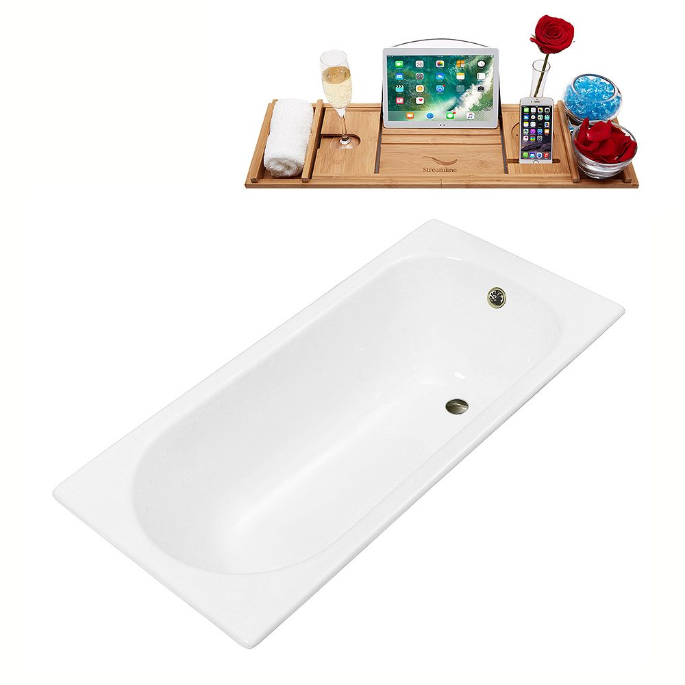 Streamline 59 inch Streamline Cast Iron R5560BNK Drop In Bathtub with External Drain
