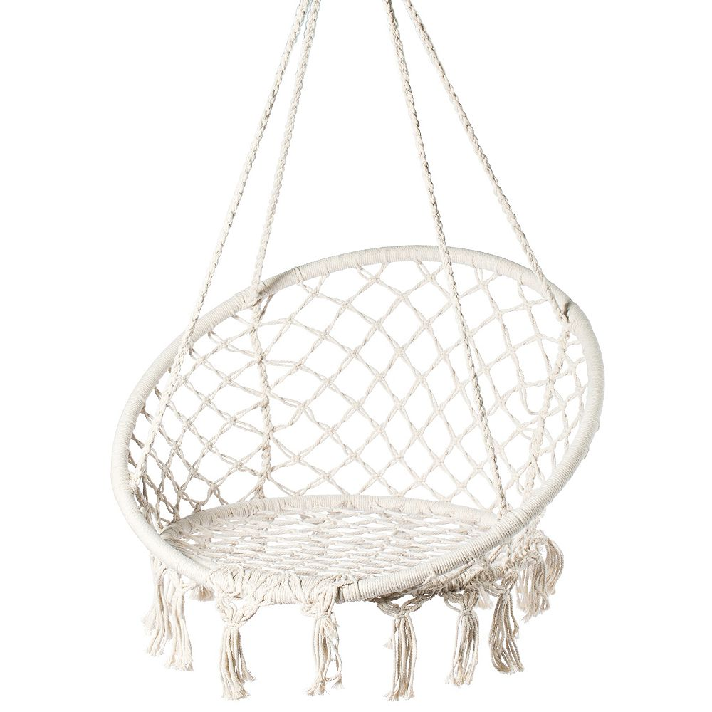 PLAYBERG Round Hanging Hammock Cotton Rope Macrame Swing Chair for Indoor and Outdoor