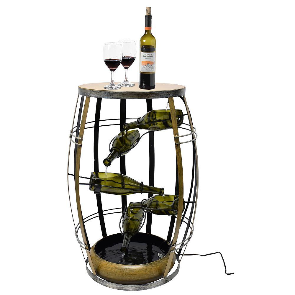 Vintiquewise Vintage Metal Barrel Design Cascading Waterfall Floor Water Fountain with Tiering Wine Bottles