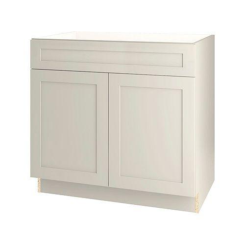 Rhett 36-inch W x 34.6-inch H x 24-inch D Shaker Style Assembled Kitchen Sink Base Cabinet/Cupboard in Mortar Light Grey (BS36)