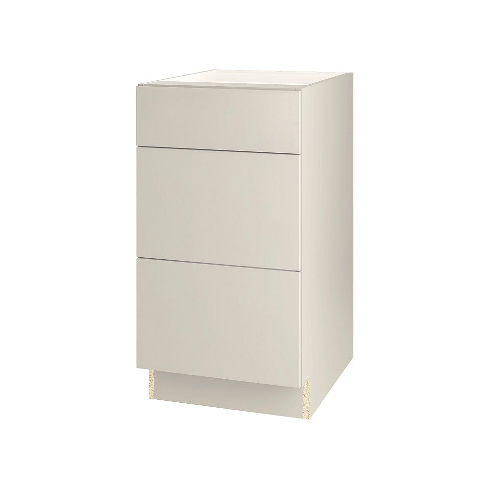 Thomasville NOUVEAU Cavette Mortar Assembled Three Drawer Base Cabinet 18 inches Wide