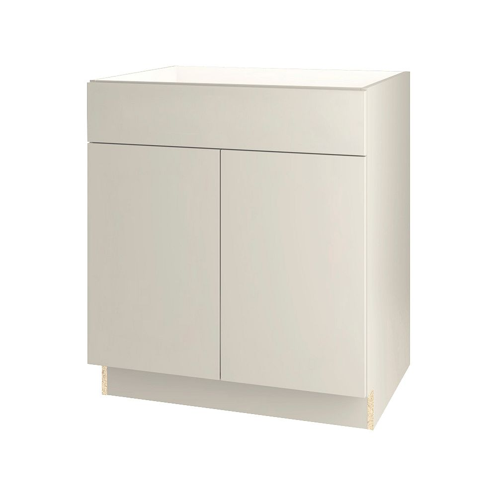 Thomasville Nouveau Cavette 30-inch W x 34.6-inch H x 24-inch D Assembled Kitchen Sink Base Cabinet/Cupboard in Mortar Light Grey (BS30)