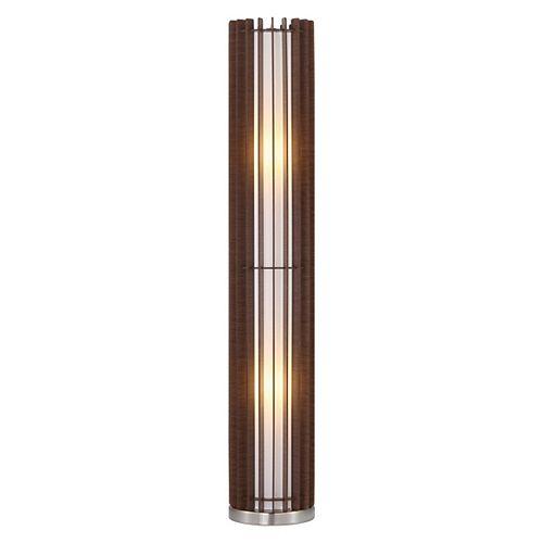 Cossano-3 43 po Lampe de Plancher, Fini Nickel Mat avec Abat-jour en bois brun Foncé