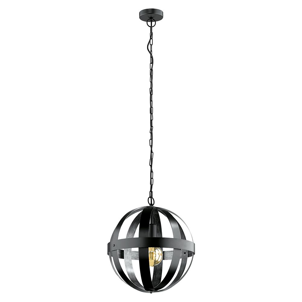 Eglo Westbury Pendant Light, Black Finish with Black & Brushed Silver Metal Shade
