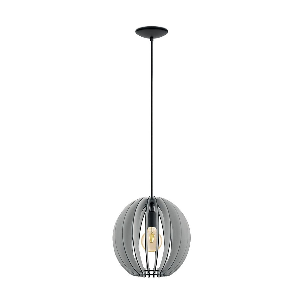 Eglo Holden Pendant Light 1L, Black Finish with Black & Grey Wood Shade