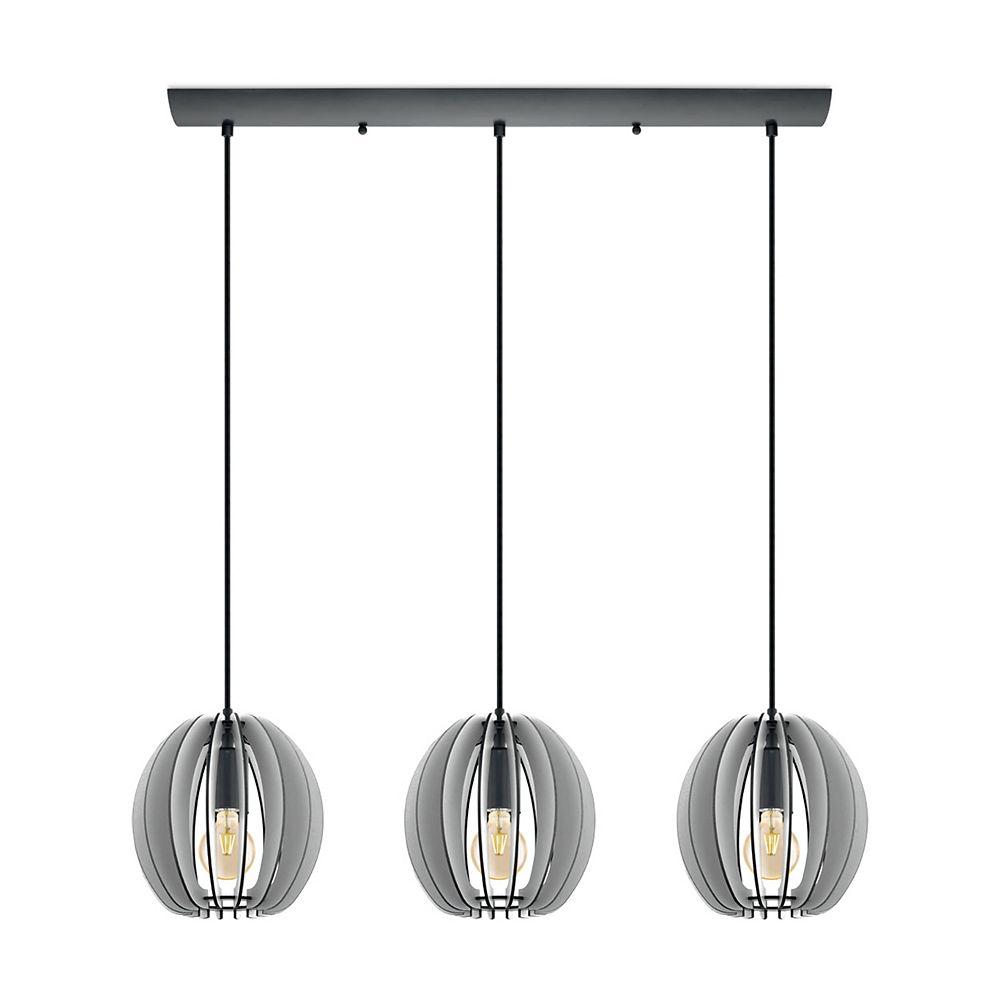 Eglo Holden Pendant Light 3L, Black Finish with Black & Grey Wood Shade