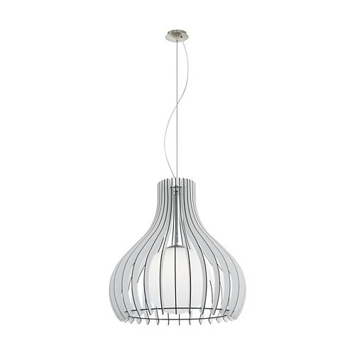 Eglo Maybelle Pendant Light Matte Nickel Finish with White Glass