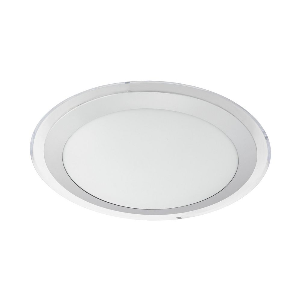 Eglo Competa 2 LED Ceiling Light (Circle), White Finish with White, Silver and Clear Acrylic Shade