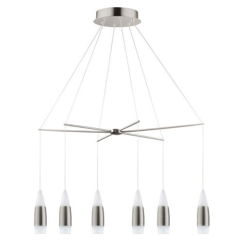 Santiga Suspension DEL 6L, Fini Nickel Mat avec Acrylique Blanc