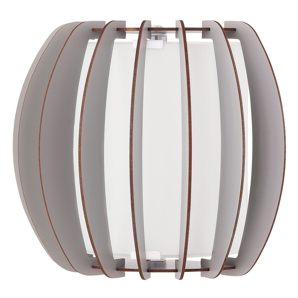 Eglo Stellato Colore Wall Light 1L, Matte Nickel Finish with White Glass and Grey Wood Shade