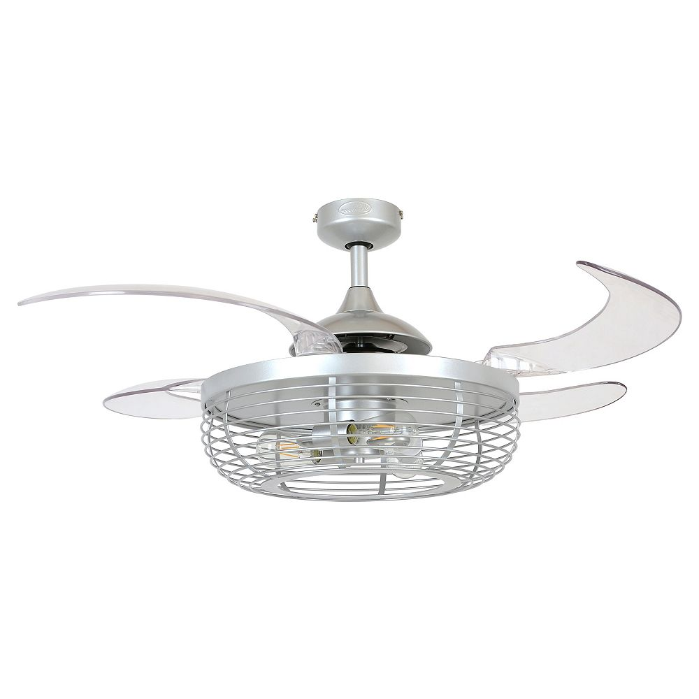 Fanaway Carbondale 48-inch Gray Silver and Clear Ceiling Fan with Light