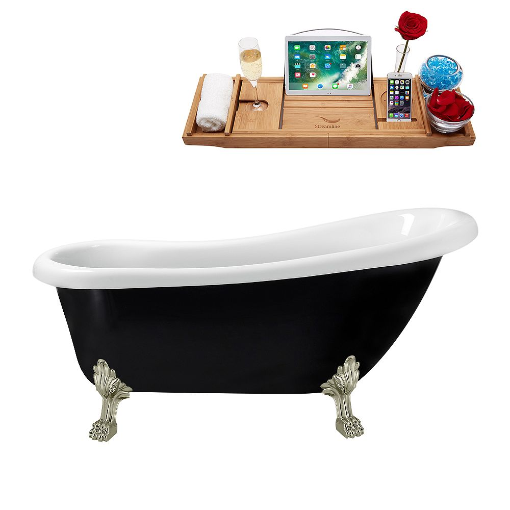 Streamline 61 inch Streamline N481BNK-IN-ORB Clawfoot Tub and Tray with Internal Drain
