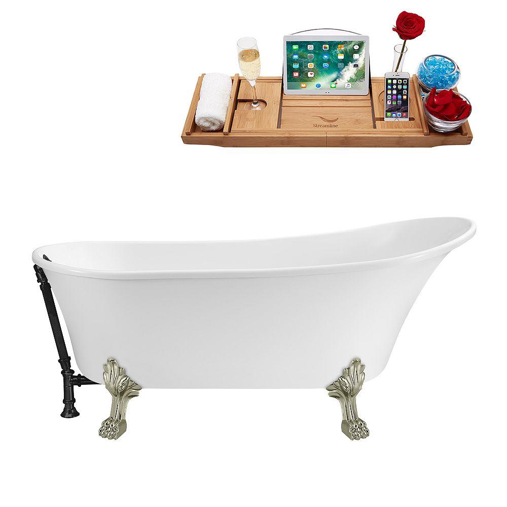 Streamline 59 inch Streamline N341BNK-BL Soaking Clawfoot Tub and Tray with External Drain