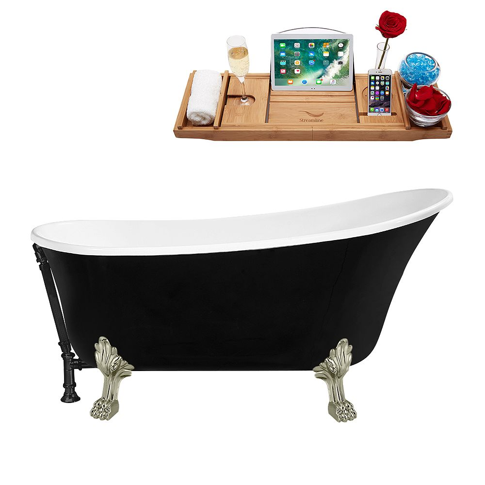 Streamline 59 inch Streamline N344BNK-BL Clawfoot Tub and Tray with External Drain