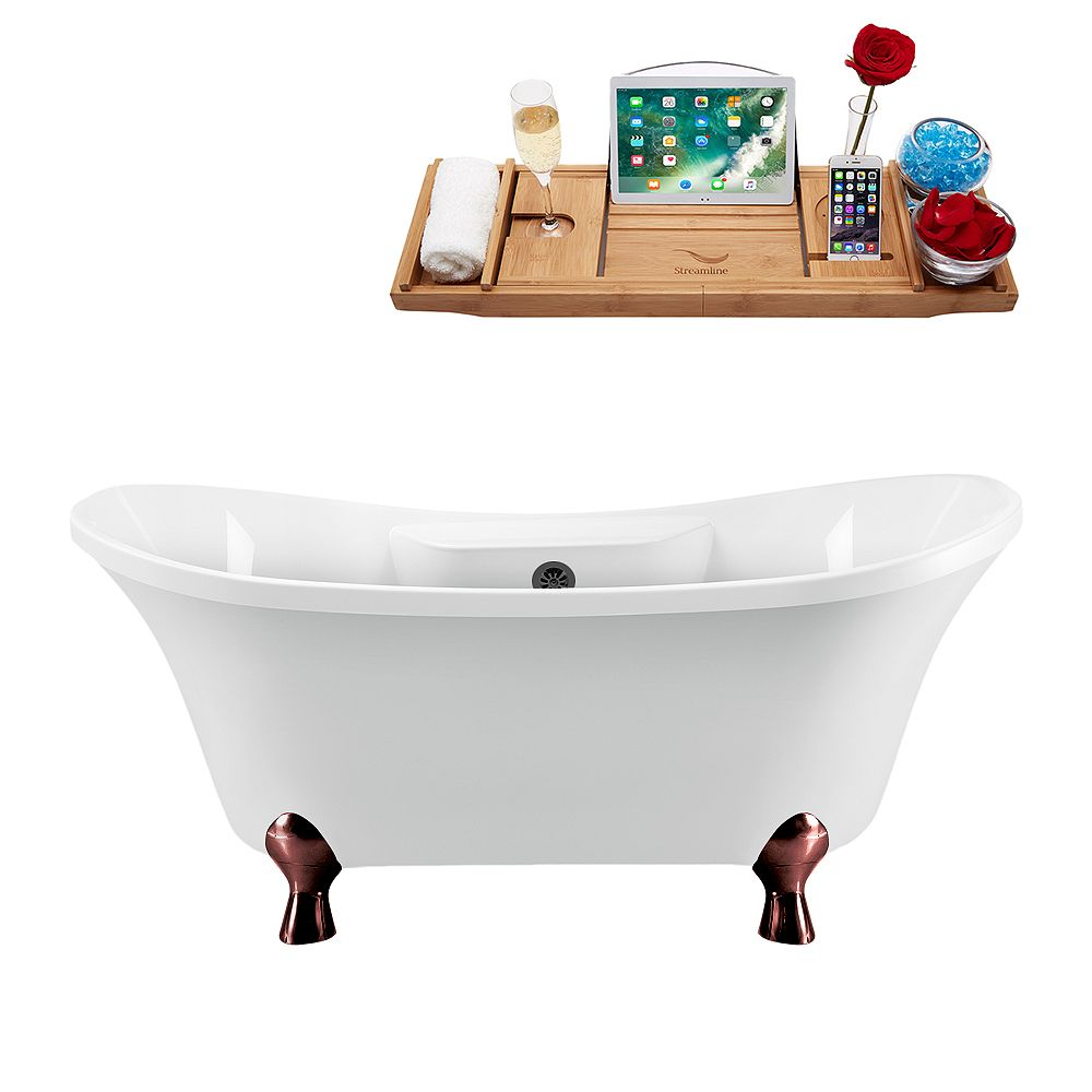 Streamline 68 inch Streamline N901ORB-BL Clawfoot Tub and Tray with External Drain