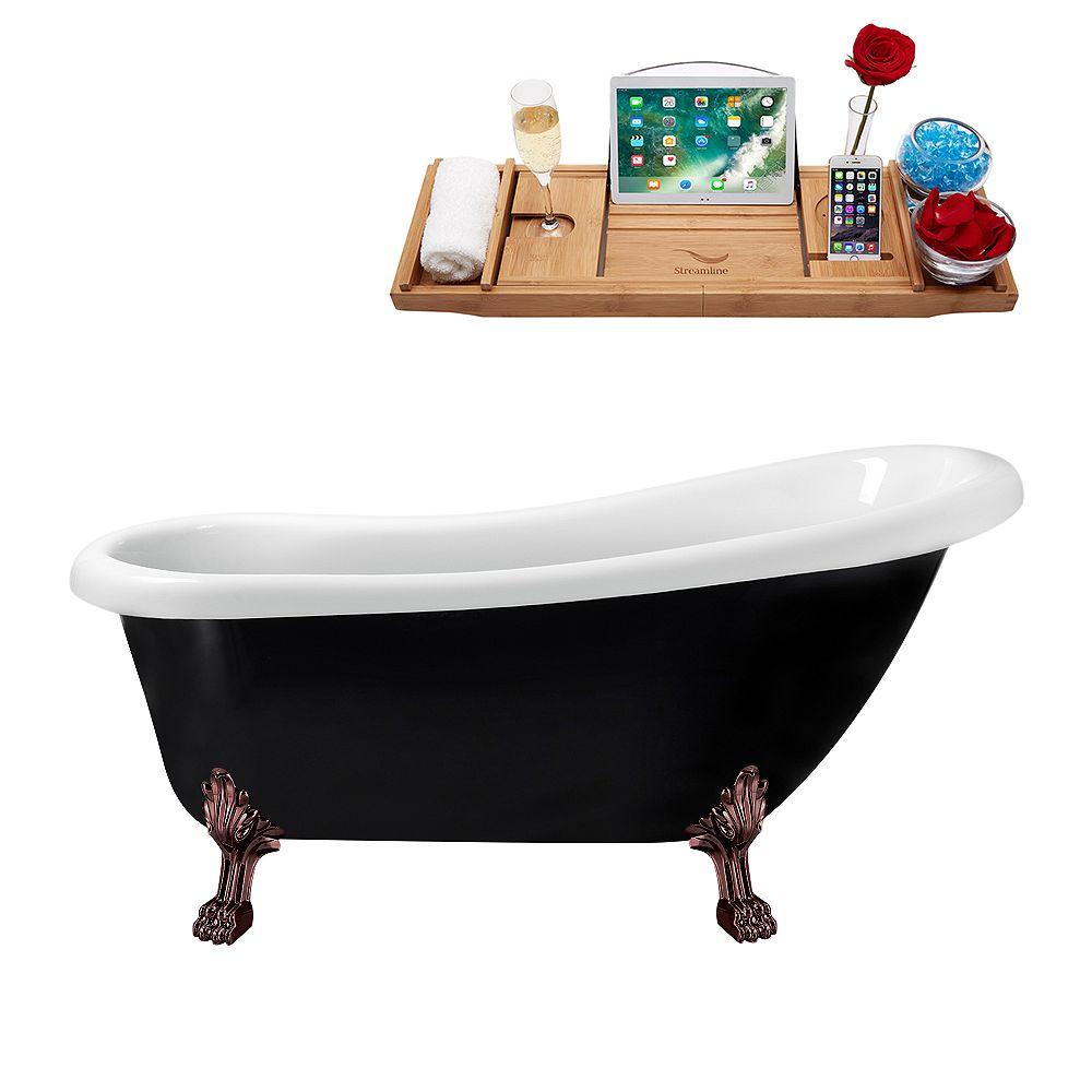Streamline 61 inch Streamline N481ORB-IN-BL Clawfoot Tub and Tray with Internal Drain