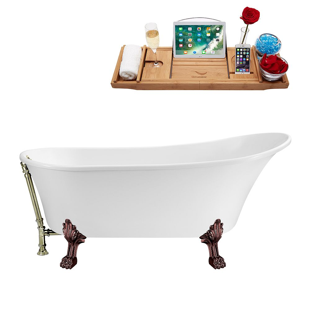 Streamline 67 inch Streamline N340ORB-BNK Soaking Clawfoot Tub and Tray with External Drain