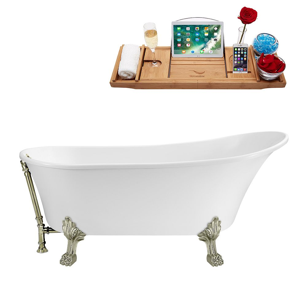 Streamline 63 inch Streamline N342BNK-BNK Soaking Clawfoot Tub and Tray with External Drain