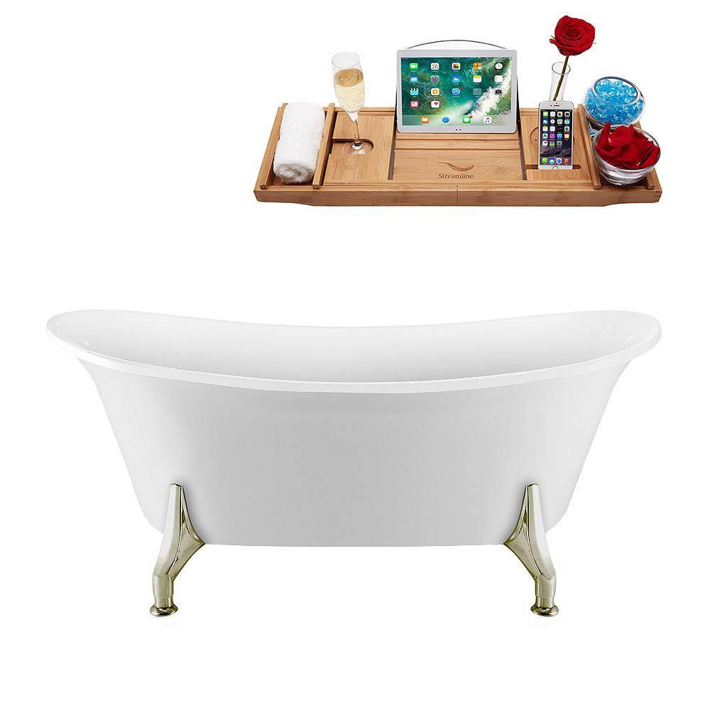 Streamline 67 inch Streamline N1081BNK-IN-BNK Clawfoot Tub and Tray with Internal Drain