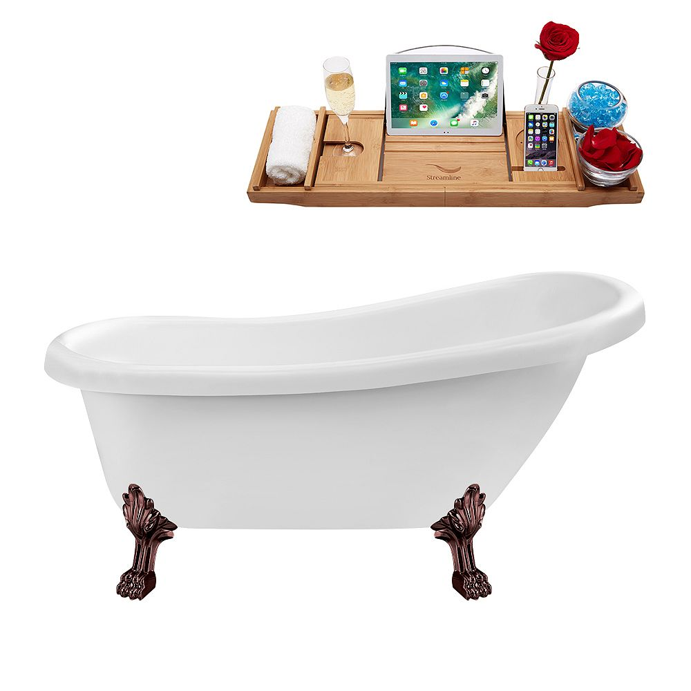 Streamline 61 inch Streamline N480ORB-IN-BNK Soaking Clawfoot Tub and Tray with Internal Drain