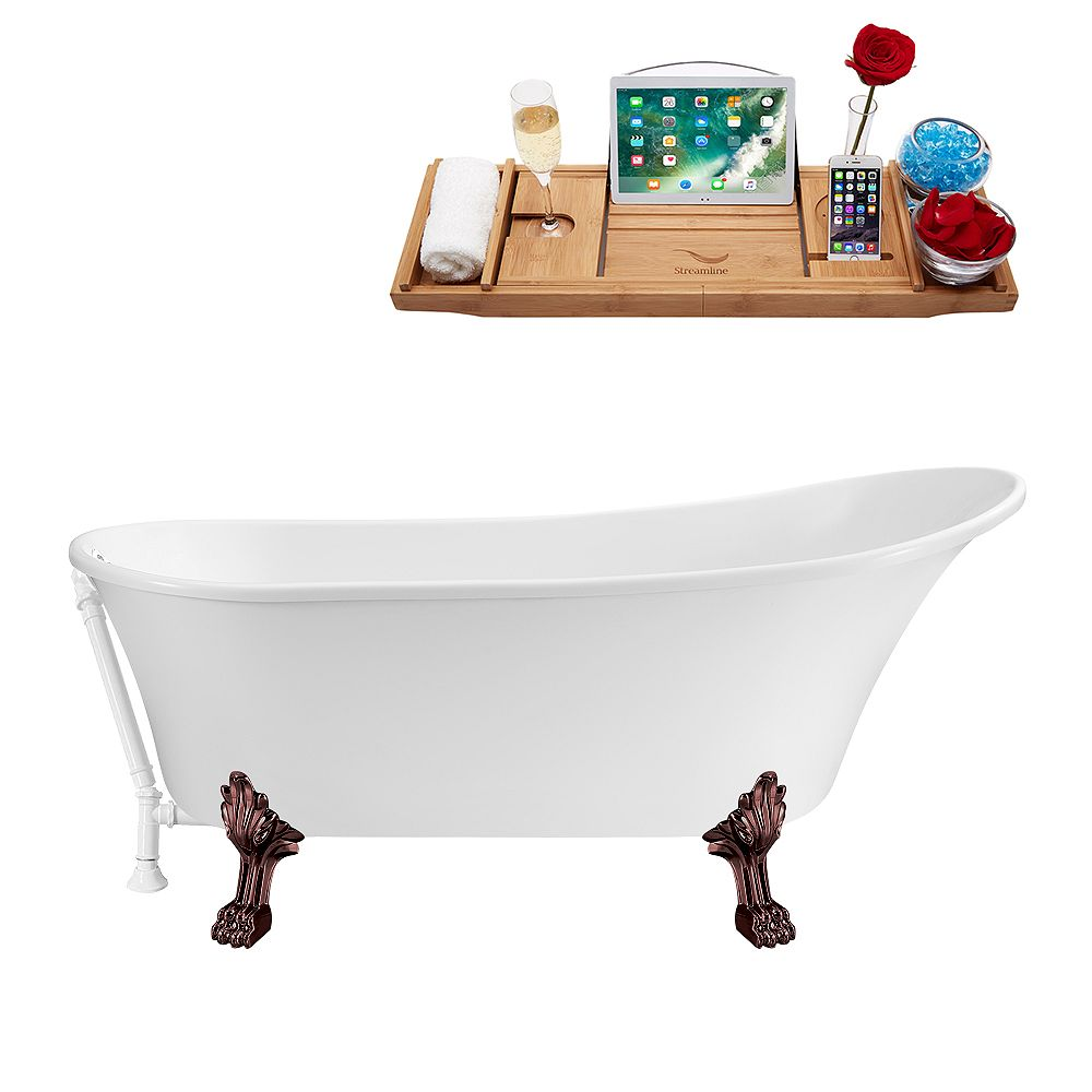 Streamline 67 inch Streamline N340ORB-WH Soaking Clawfoot Tub and Tray with External Drain