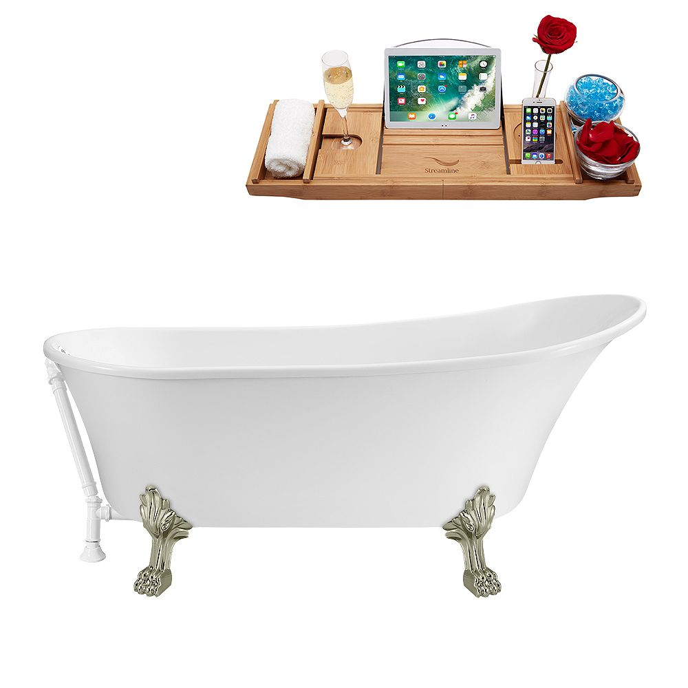 Streamline 67 inch Streamline N340BNK-WH Soaking Clawfoot Tub and Tray with External Drain