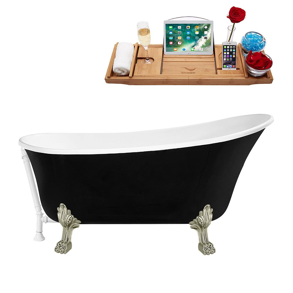 Streamline 59 inch Streamline N344BNK-WH Clawfoot Tub and Tray with External Drain