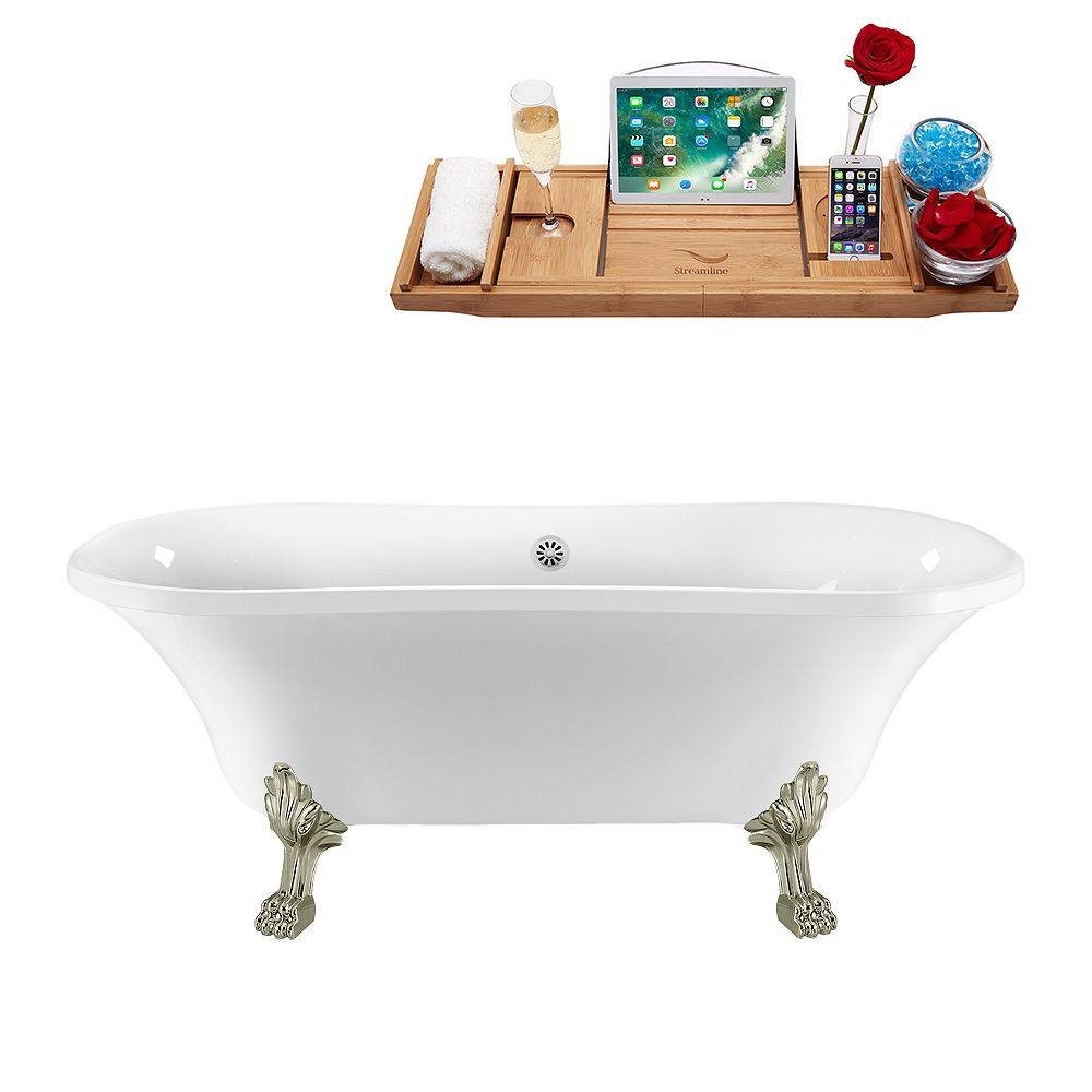 Streamline 68 inch Streamline N861BNK-WH Clawfoot Tub and Tray with External Drain