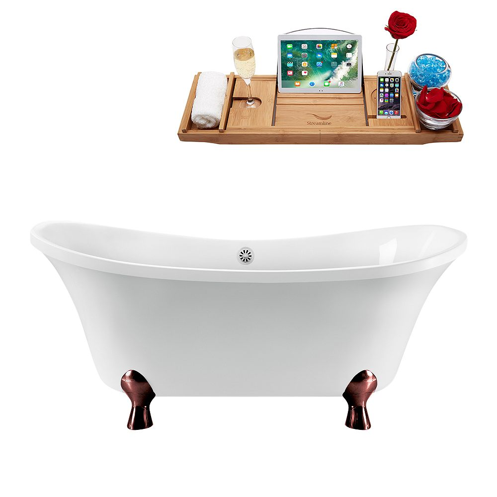 Streamline 60 inch Streamline N920ORB-WH Clawfoot Tub and Tray with External Drain