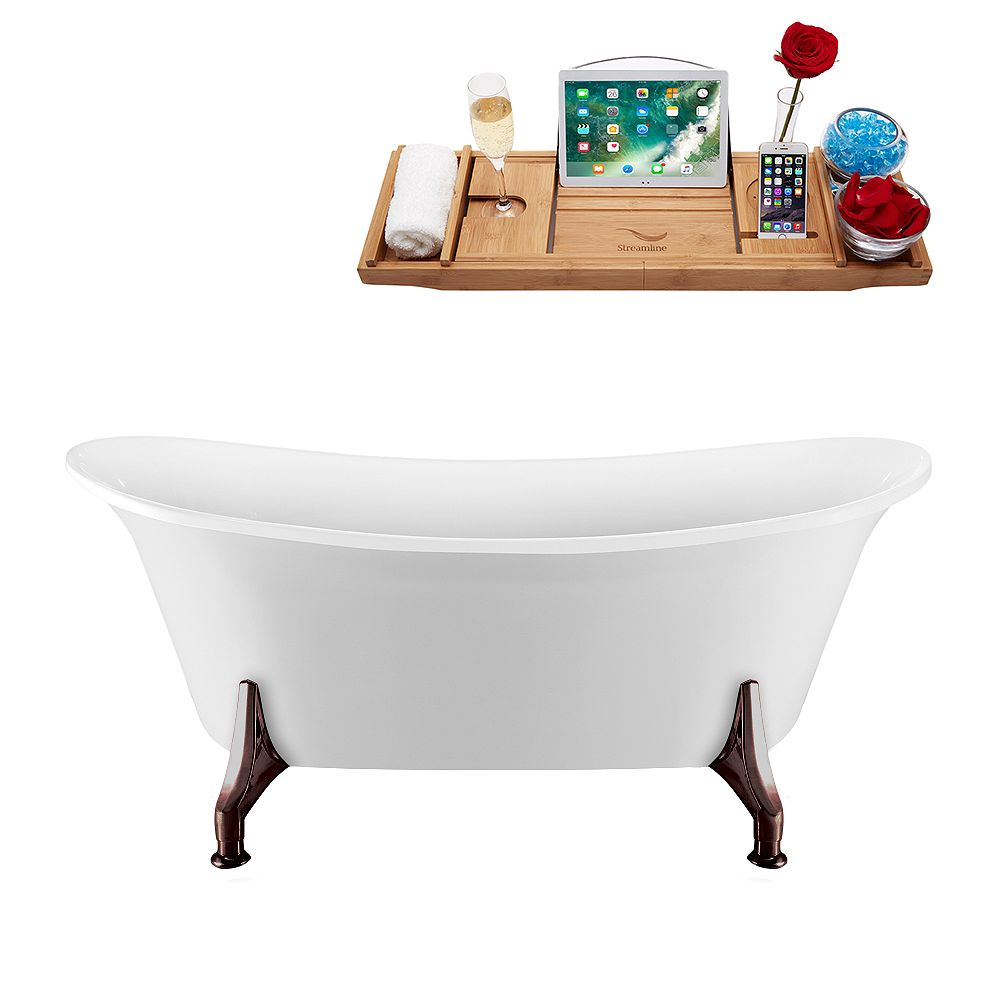 Streamline 59 inch Streamline N1080ORB-IN-WH Clawfoot Tub and Tray with Internal Drain