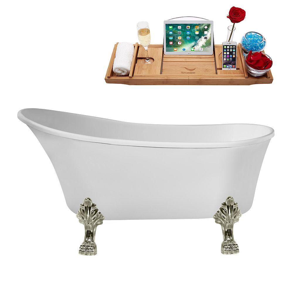 Streamline 55 inch Streamline N346BNK-IN-WH Clawfoot Tub and Tray with Internal Drain