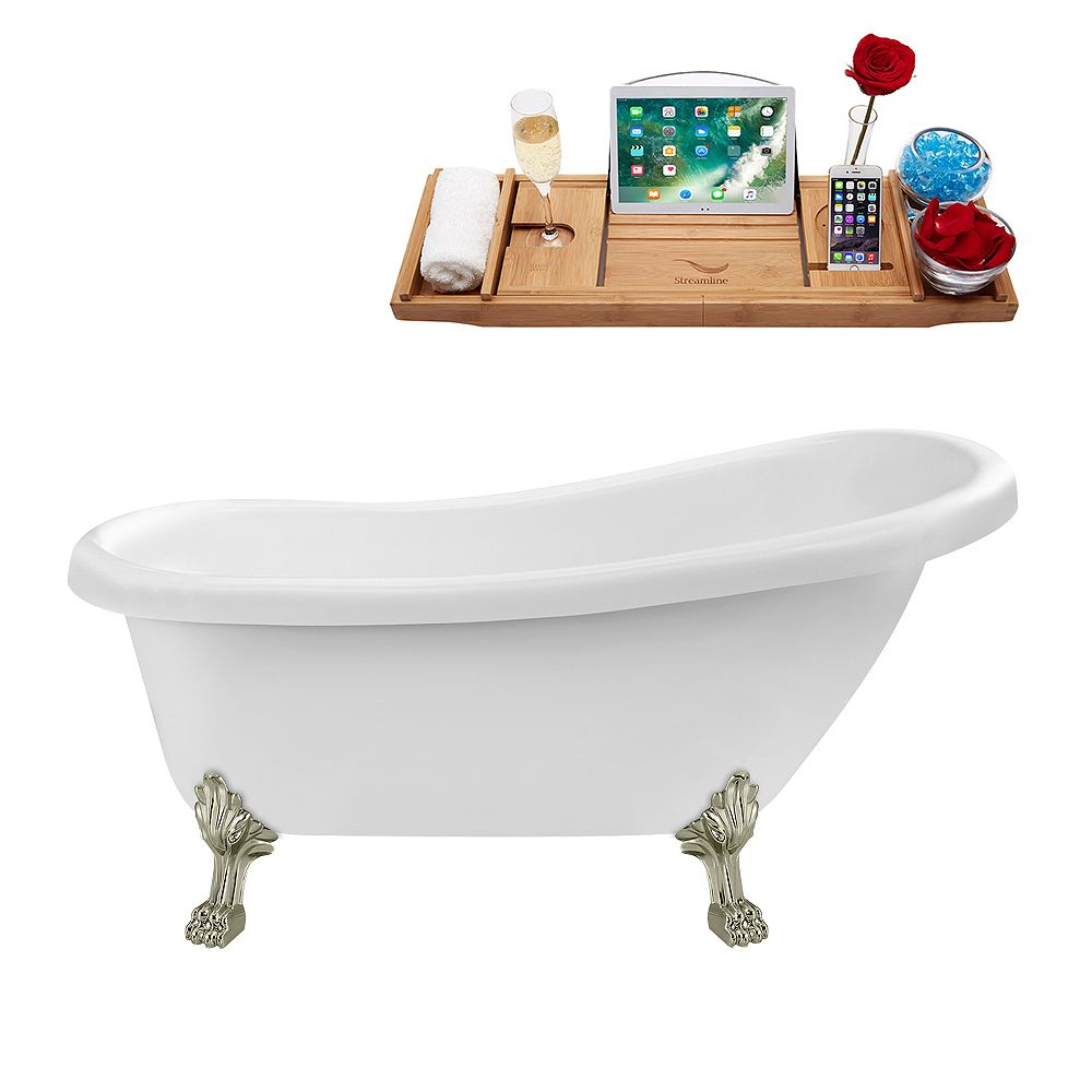 Streamline 61 inch Streamline N480BNK-IN-WH Soaking Clawfoot Tub and Tray with Internal Drain