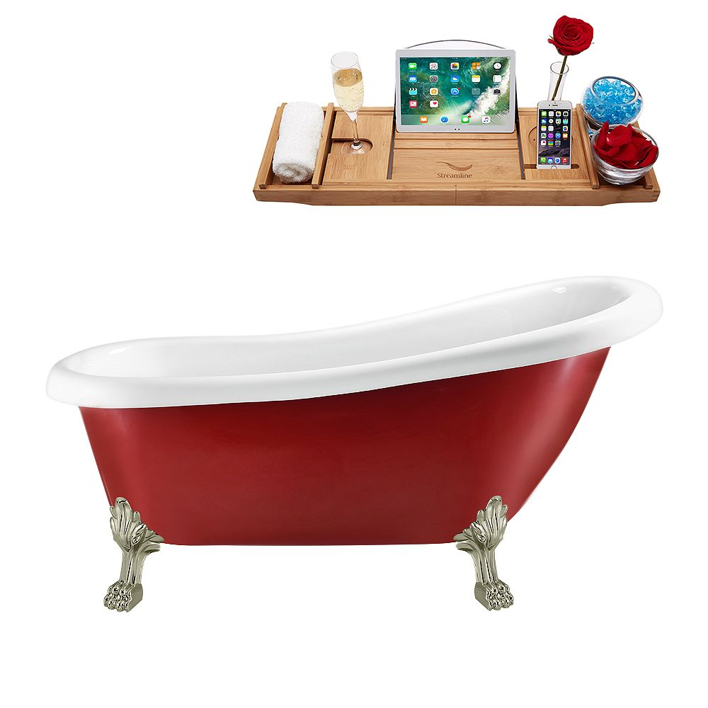 Streamline 61 inch Streamline N482BNK-IN-WH Clawfoot Tub and Tray with Internal Drain