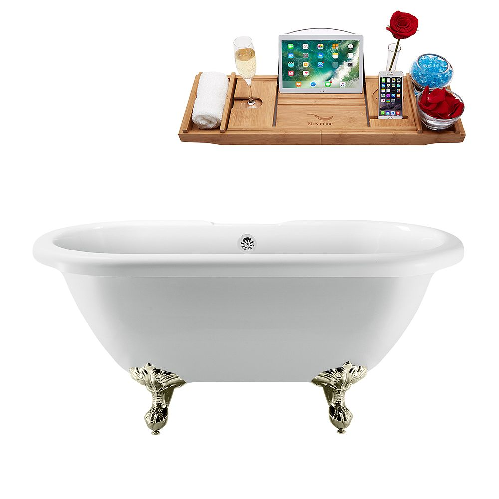 Streamline 67 inch Streamline N1121BNK-CH Clawfoot Tub and Tray with External Drain