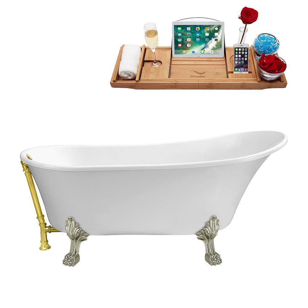 Streamline 67 inch Streamline N340BNK-GLD Soaking Clawfoot Tub and Tray with External Drain
