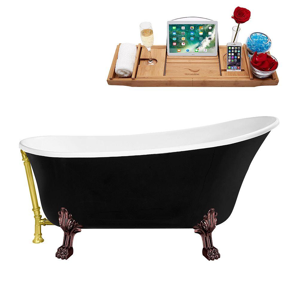 Streamline 67 inch Streamline N345ORB-GLD Clawfoot Tub and Tray with External Drain