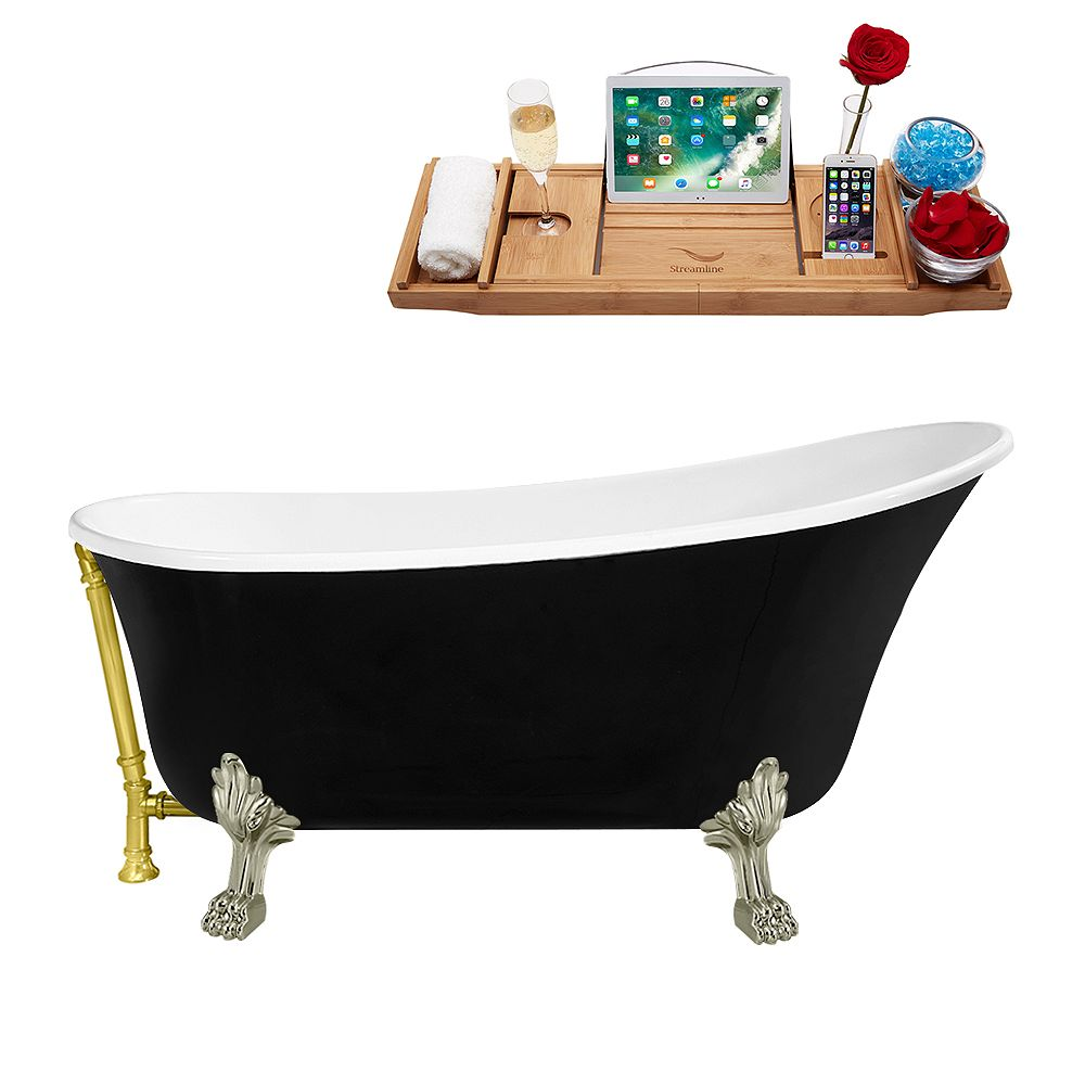 Streamline 67 inch Streamline N345BNK-GLD Clawfoot Tub and Tray with External Drain