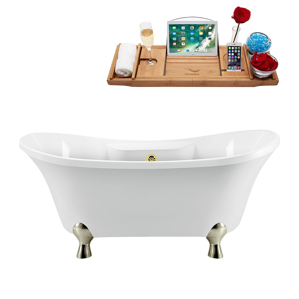 Streamline 68 inch Streamline N901BNK-GLD Clawfoot Tub and Tray with External Drain