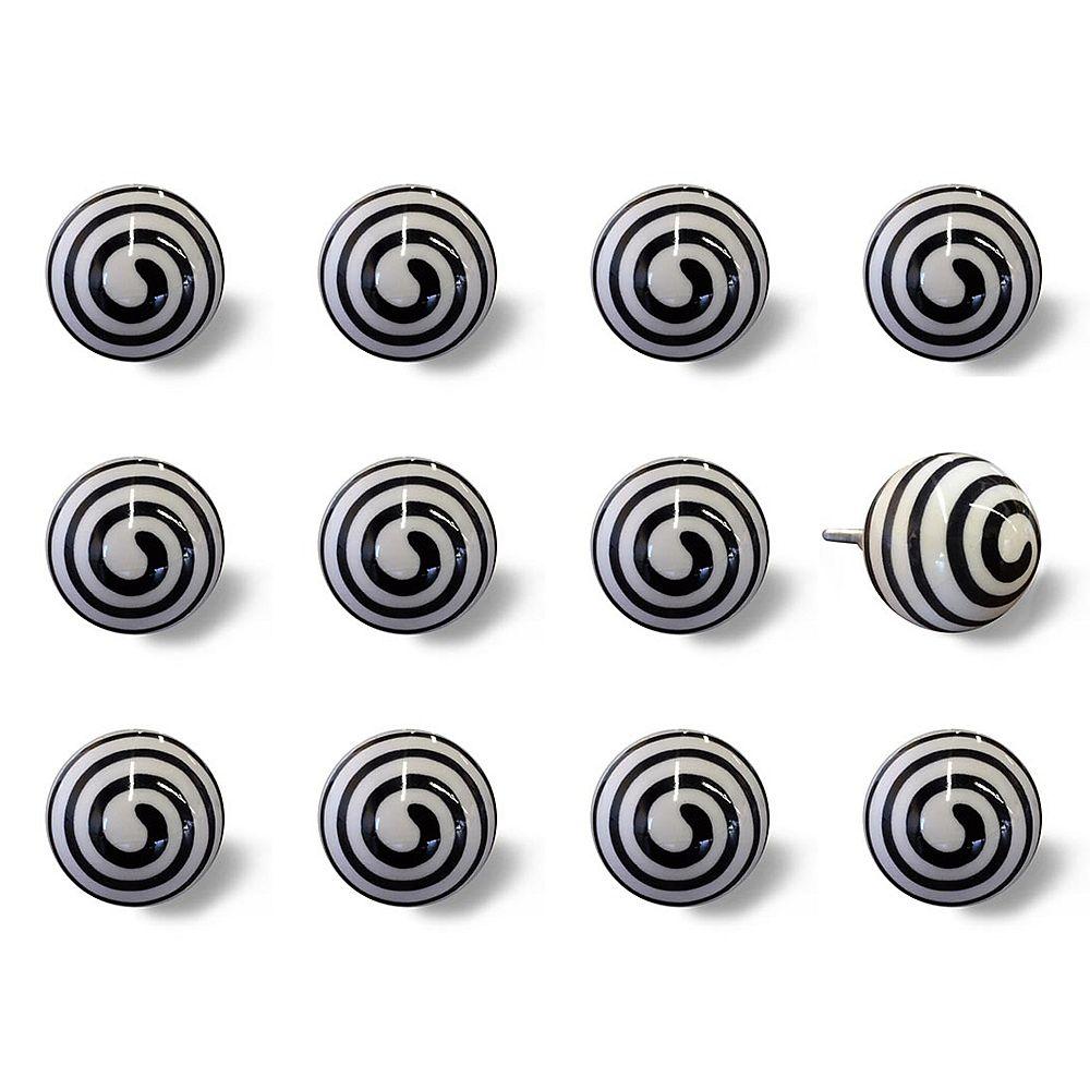 Knob-It Hand-Painted 1.5 inch (38mm) White/Black Swirl Ceramic Cabinet Knob (12-Pack)