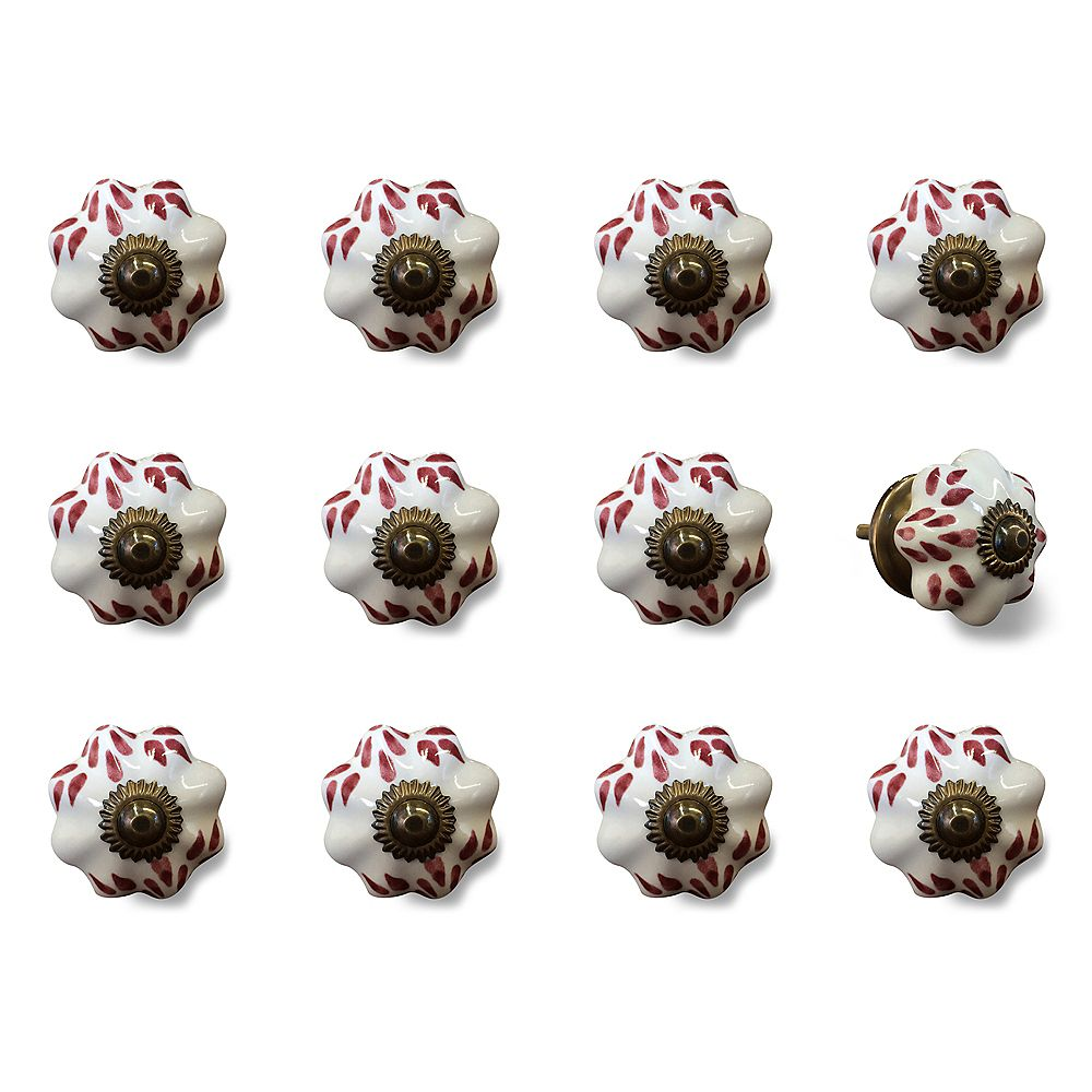 Knob-It Hand-Painted 1.5 inch (38mm) White/Burgundy/Copper Ceramic Cabinet Knob (12-Pack)