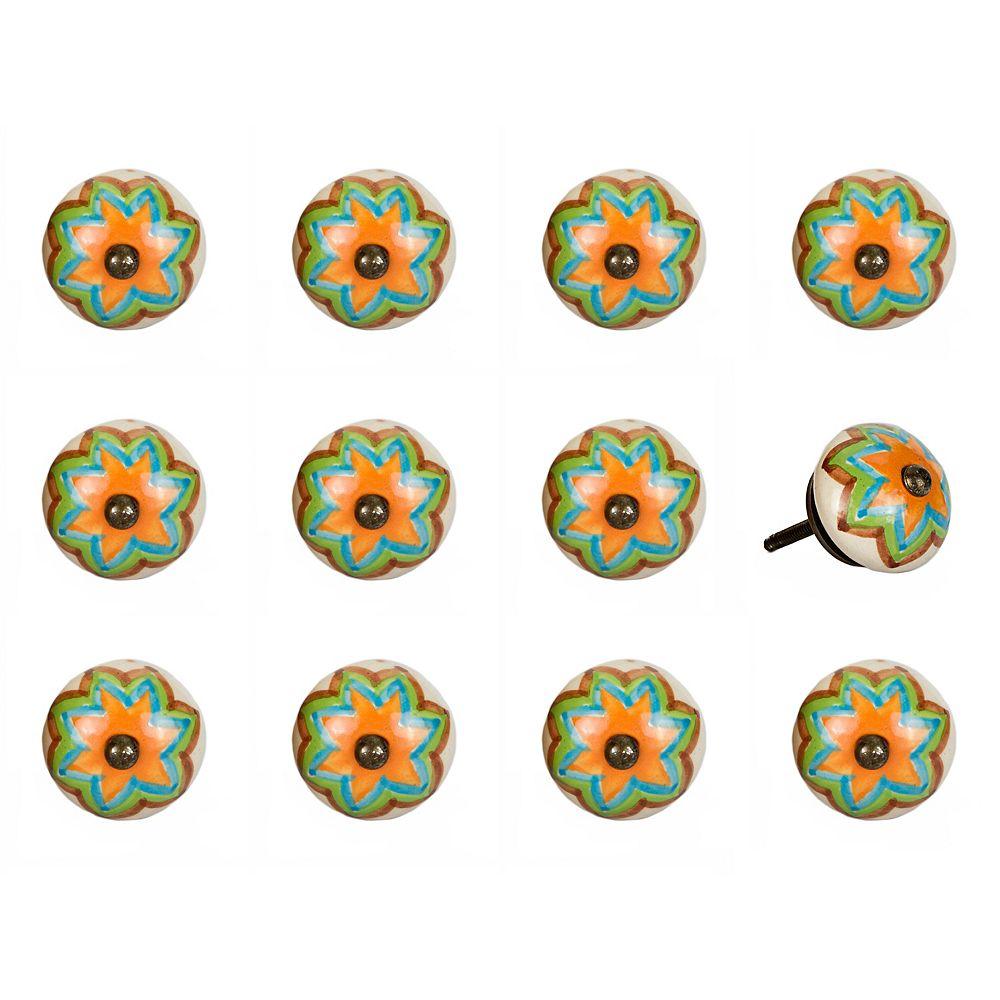 Knob-It Hand-Painted 1.5 inch (38mm) Orange/Blue/Green/Copper Ceramic Cabinet Knob (12-Pack)