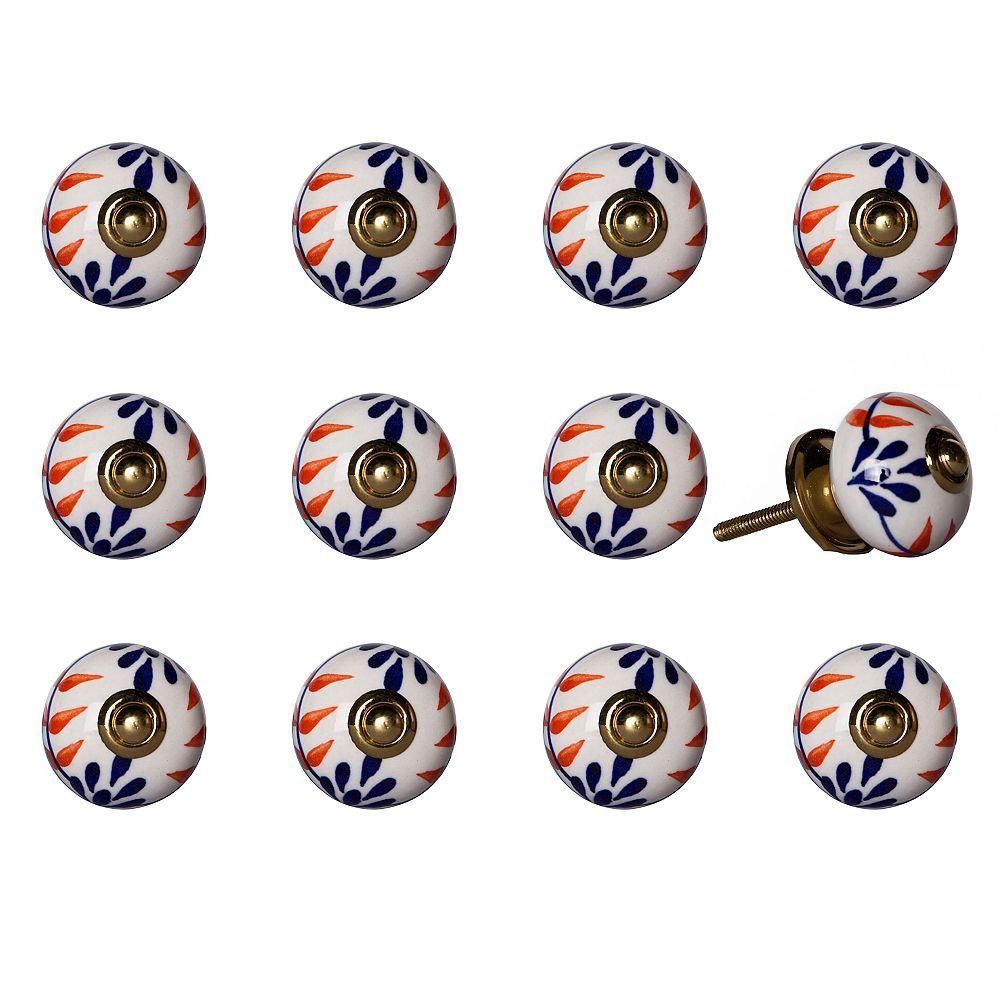 Knob-It Hand-Painted 1.5 inch (38mm) White/Blue/Orange/Gold Ceramic Cabinet Knob (12-Pack)