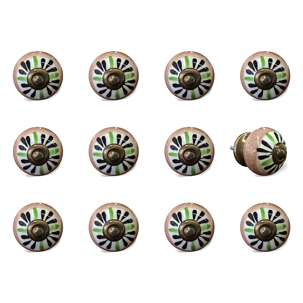 Knob-It Hand-Painted 1.5 inch (38mm) Brown/White/Green/Copper Ceramic Cabinet Knob (12-Pack)