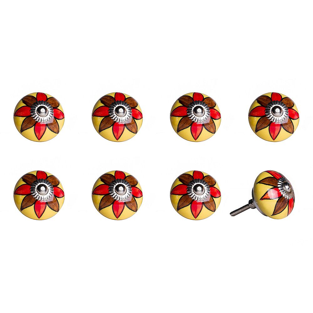 Knob-It Hand-Painted 1.5 inch (38mm) Yellow/Brown/Red/Silver Ceramic Cabinet Knob (8-Pack)