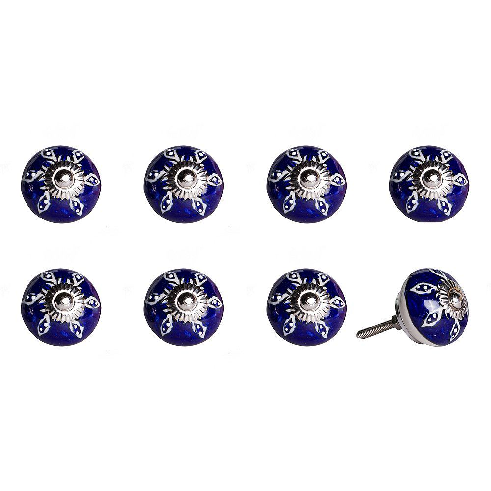 Knob-It Hand-Painted 1.5 inch (38mm) Navy/White/Silver Ceramic Cabinet Knob (8-Pack)